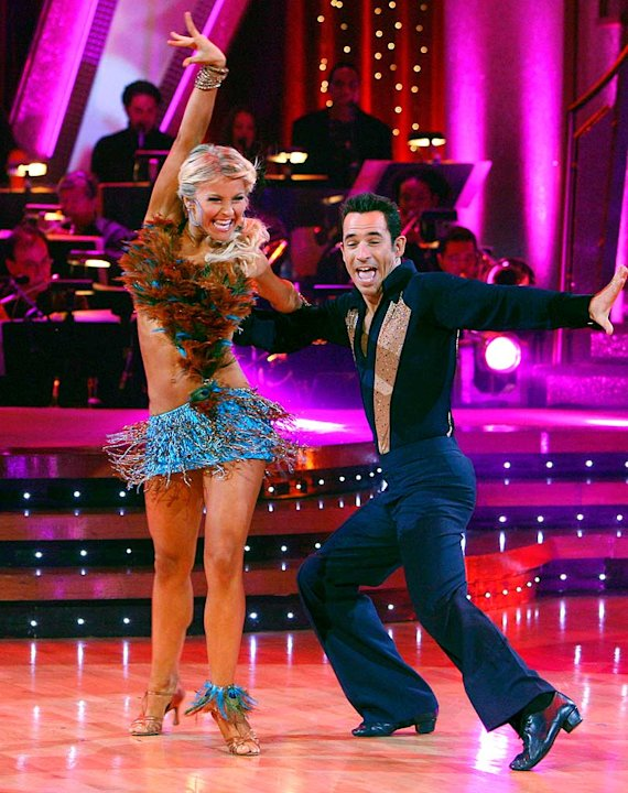 Julianne Hough and Helio Castroneves  perform a dance on the 5th season of Dancing with the Stars. 