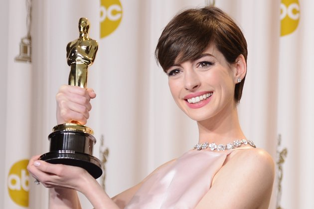 Anne Hathaway in the Oscars press room on Sunday