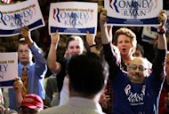 Supporters hold up signs during a campaign rally of Republican US presidential candidate Mitt Romney in Ohio in September