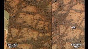 A NASA combination handout photograph shows the surface of Mars in front of the Mars rover on December 26, 2013 and on January 8, 2014