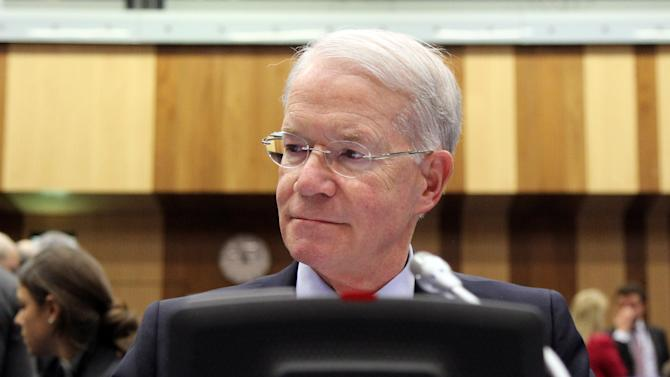 Joseph E. Macmanus, Permanent U.S. Representative to the United Nations, waits for the start of the IAEA board of governors meeting at the International Center in Vienna, Austria, Wednesday, March 6, 2013. (AP Photo/Ronald Zak)