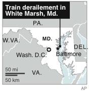 Map locates site of a Maryland train derailment