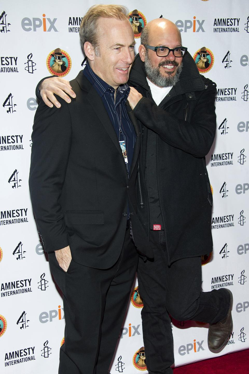 "Bob Odenkirk, left, and David Cross arrive to Amnesty International's ""Secret Policeman's Ball"" in New York, Sunday, March 4, 2012. (AP Photo/Charles Sykes)"