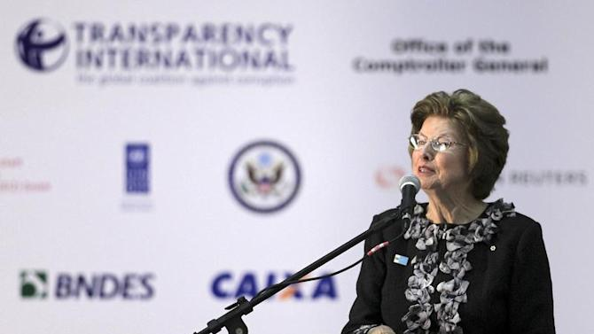"""Chair of Transparency International Huguette Labelle speaks during The 15th biennial International Anti-Corruption Conference """"Mobilising People: Connecting Agents of Change"""" in Brasilia"""