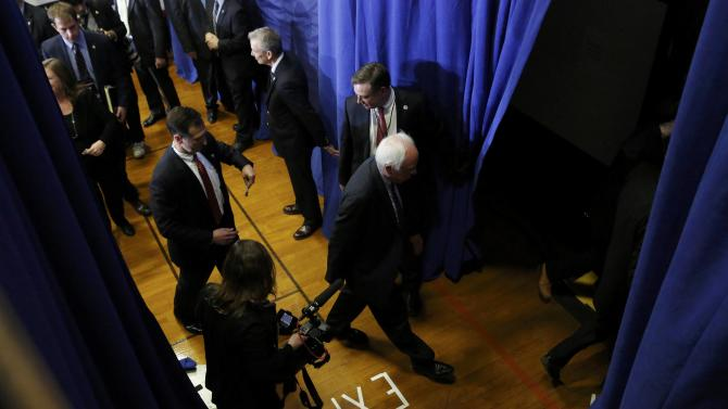 Democratic U.S. presidential candidate Bernie Sanders leaves the stage after speaking at his 2016 New Hampshire presidential primary night rally in Concord