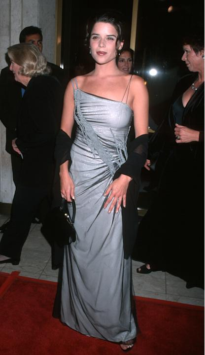 Neve Campbell in a gown with mesh overlay