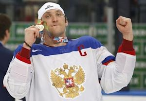 Russia's Ovechkin celebrates after winning their men's ice hockey World Championship final game against Finland at Minsk Arena in Minsk