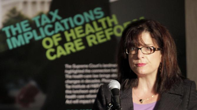 IMAGE DISTRIBUTED FOR THE TAX INSTITUTE AT H&R BLOCK - Kathy Pickering, Executive Director of The Tax Institute at H&R Block, speaks during an event on the tax implications of health care reform in Springfield, Ill., Wednesday, April 10, 2013. The event is part of a multi-city engagement tour hosted by The Tax Institute at H&R Block and Bloomberg Government examining the effects of the Affordable Care Act on consumers, small businesses and the uninsured.  (AJ Mast / AP Images for The Tax Institute at H&R Block)