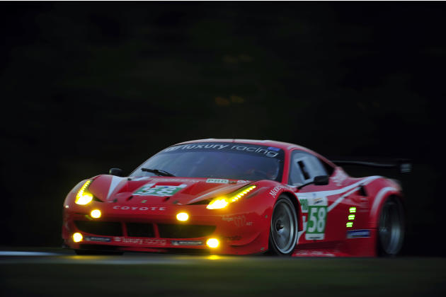 Francois Jakubowski, of France, goes through a corner during night practice for the American Le Mans Series' Petit Le Mans auto race at Road Atlanta, Thursday, Sept. 29, 2011, in Braselton, Ga. (AP Ph