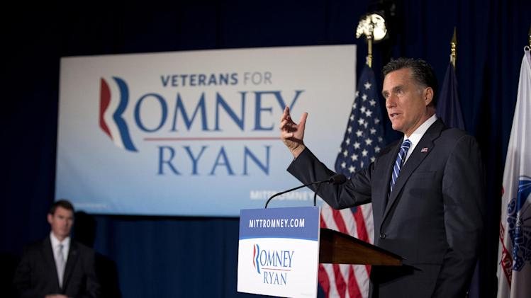 Republican presidential candidate, former Massachusetts Gov. Mitt Romney gestures during a campaign event at American Legion Post 176, Thursday, Sept. 27, 2012, in Springfield, Va.  (AP Photo/ Evan Vucci)