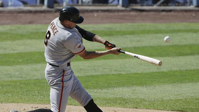 Pence hits 2 HRs, Pill connects as SF tops Dodgers