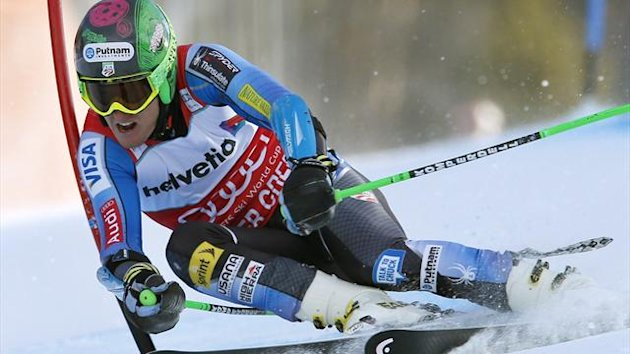 Ted Ligety of the U.S. skis to first place in men's World Cup giant slalom ski race in Beaver Creek,