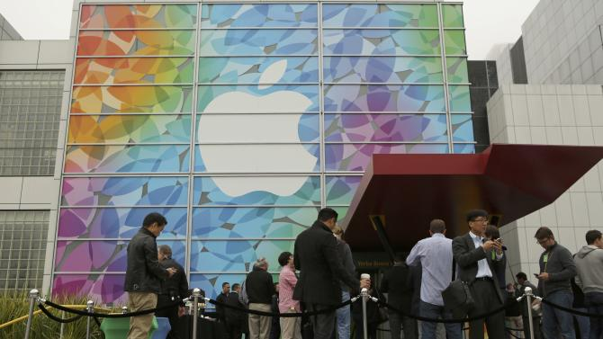 People line up for the Apple event at the Yerba Buena centre in San Francisco