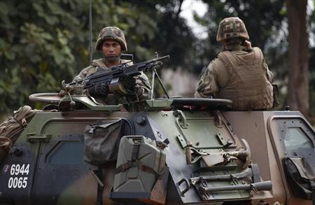 French soldiers patrol the streets in Bangui