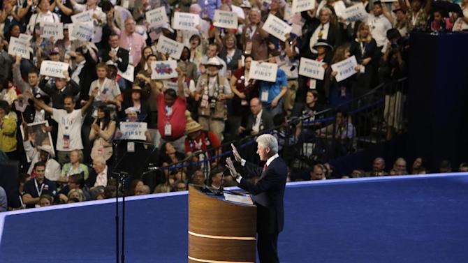 Former President Bill Clinton speaks to delegates at the Democratic National Convention in Charlotte, N.C., on Wednesday, Sept. 5, 2012. (AP Photo/Lynne Sladky)