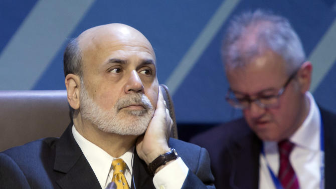 Chairman of the U.S. Federal Reserve Ben Bernanke attends the summit of financial ministers and heads of central banks of the G20 group of nations ahead of their meeting in Moscow, Russia, Saturday, Feb. 16, 2013. (AP Photo/Misha Japaridze)