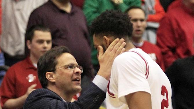 Indiana head coach Tom Crean thanks forward Christian Watford (2) after they defeated Temple 58-52 in a third-round game of the NCAA college basketball tournament, Sunday, March 24, 2013, in Dayton, Ohio. (AP Photo/Skip Peterson)