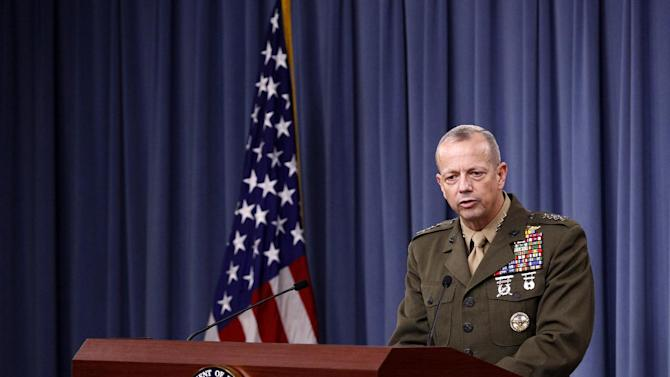 Marine Gen. John R. Allen, commander of the International Security Assistance Force, speaks during a news conference at the Pentagon, Wednesday, May 23, 2012. (AP Photo/Haraz N. Ghanbari)
