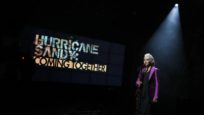 "In this photo provided by NBC, Christina Aguilera, a Staten Island native, performs during ""Hurricane Sandy: Coming Together"" Friday, Nov. 2, 2012, in New York. Hosted by Matt Lauer, the event is heavy on stars identified with New Jersey and the New York metropolitan area, which took the brunt of this week's deadly storm. (AP Photo/NBC)"