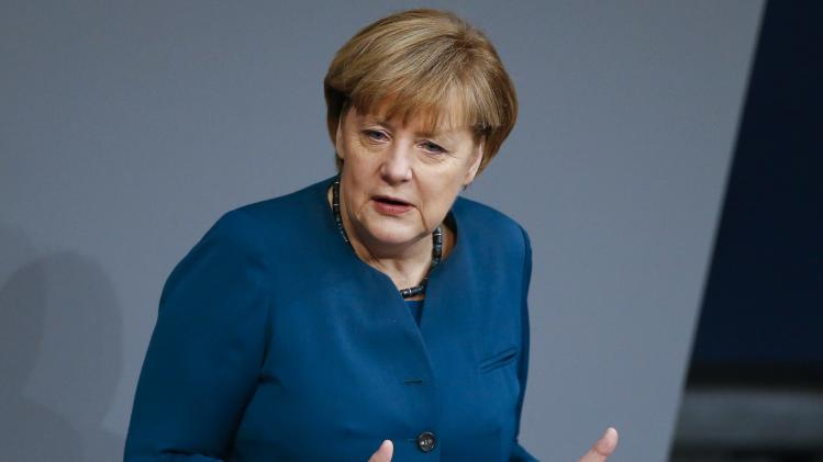 German Chancellor Merkel addresses Bundestag session in Berlin