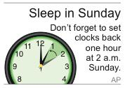 Graphic to be used as a reminder to turn back the clocks on hour