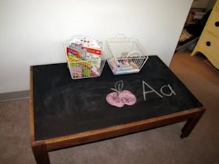 Coffee Table to Chalkboard Table