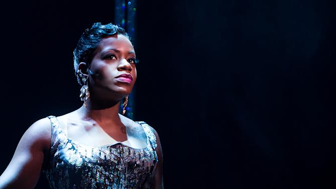 """FILE - This undated file photo released by O&M Co. shows Fantasia Barrino in Broadway's """"After Midnight,"""" in New York. Producers of the show said Thursday, March 20, 2014, that the """"American Idol"""" and Grammy Award winner, Barrino, will in May return to the musical celebrating Duke Ellington's years at the Cotton Club nightclub in Harlem. She will have a four-week stand, from May 13-June 8, 2014. (AP Photo/O&M Co., Matthew Murphy, file)"""