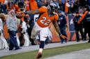 Denver Broncos running back C.J. Anderson celebrates his touchdown against the Oakland Raiders during the second half of an NFL football game, Sunday, Dec. 28, 2014, in Denver. (AP Photo/Jack Dempsey)