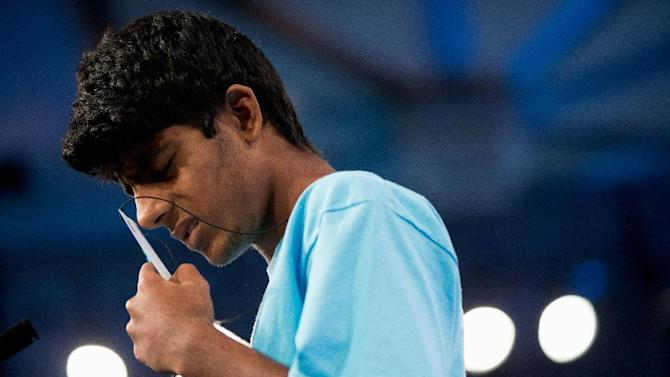 """Shiv Lamba, 14, of Leesburg, Va. incorrectly spells """"eupyrion"""" during the semifinals of the 2015 Scripps National Spelling Bee, Thursday, May 28, 2015, at National Harbor in Oxon Hill, Md. (AP Photo/Andrew Harnik)"""