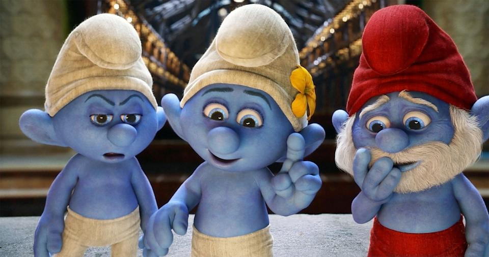 "This publicity image released by Sony Pictures Animation shows from left, Grouchy, voiced by George Lopez, Vanity, voiced by John Oliver and Papa Smurf, voiced by Jonathan Winters a scene from the film ""Smurfs 2."" (AP Photo/Sony Pictures Animation)"