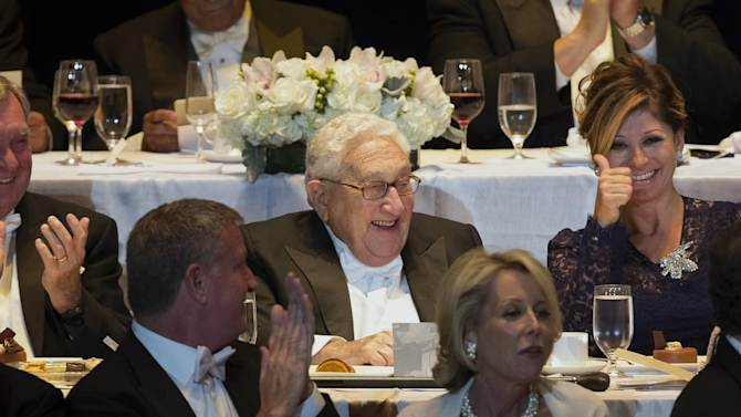 Former Secretary of State Henry Kissinger attends the 69th Annual Alfred E. Smith Memorial Foundation Dinner, a charity gala organized by the Archdiocese of New York, at the Waldorf-Astoria hotel, Wednesday, Oct. 1, 2014, in New York. (AP Photo/John Minchillo)
