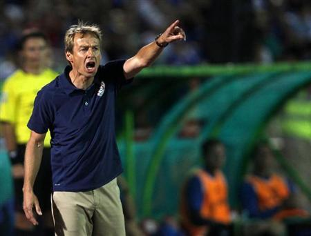 U.S. coach Jurgen Klinsmann reacts during their international friendly soccer match against Bosnia in Sarajevo