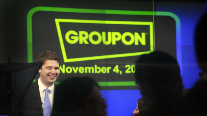 "FILE - In this Friday, Nov. 4, 2011 file photo, Andrew Mason, founder and CEO of Groupon, attends his company's IPO at Nasdaq, in New York. Former Groupon CEO Mason announced several new ventures Friday, May 17, 2013, including indulging his inner rock star with an album of ""motivational business music."" (AP Photo/Mark Lennihan, File)"