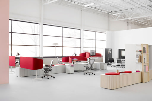Locale neighbourhoods are composed of attached modules, including desks, places to sit and perch, and other elements to create a diverse, highly adjus...