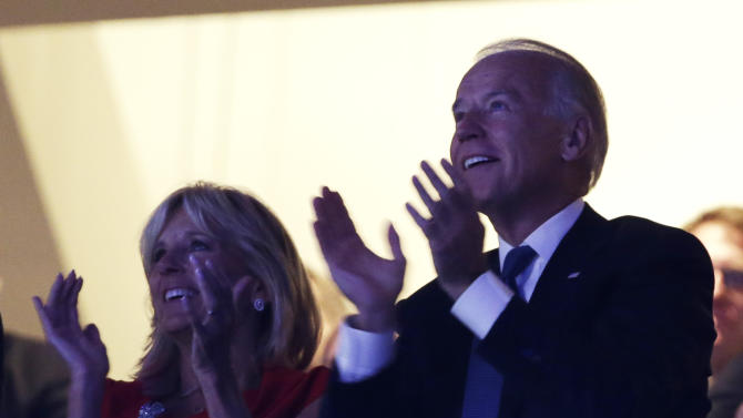 Vice President Joe Biden and his wife Jill Biden applaud during speeches at the Democratic National Convention in Charlotte, N.C., on Tuesday, Sept. 4, 2012. (AP Photo/Charlie Neibergall)