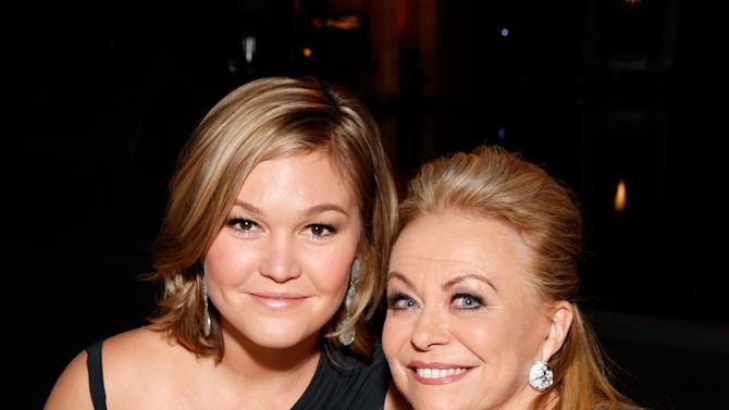 IMAGE DISTRIBUTED FOR THE PRODUCERS GUILD - Julia Stiles, left, and Jacki Weaver pose in the audience at the 24th Annual Producers Guild (PGA) Awards at the Beverly Hilton Hotel on Saturday Jan. 26, 2013, in Beverly Hills, Calif. (Photo by Todd Williamson/Invision for Producers Guild/AP Images)