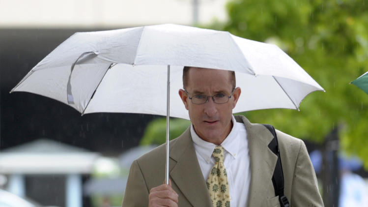 Former trainer Brian McNamee arrives at the federal court in Washington, Monday, May 14, 2012. McNamee, Roger Clemens' chief accuser testified Monday against the former pitcher, a make-or-break moment for the prosecution as it seeks to convict Clemens of perjury.  (AP Photo/Susan Walsh)