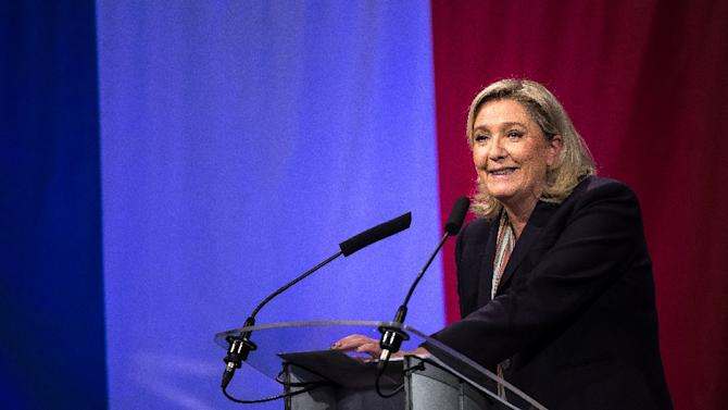 Marine Le Pen, leader of the French far-right National Front (FN) party, gives a speech in Lille, northern France, on November 30, 2015