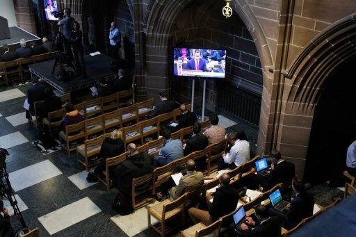 "<p>British Prime Minister David Cameron's statement is watched on a television screen in Liverpool's Anglican Cathedral, on September 12, 2012, during a press conference for the release of unpublished papers by the Hillsborough Independent Panel. Cameron apologised Wednesday to the families of the 96 victims of the 1989 Hillsborough football stadium disaster for the ""double injustice"" they suffered.</p>"