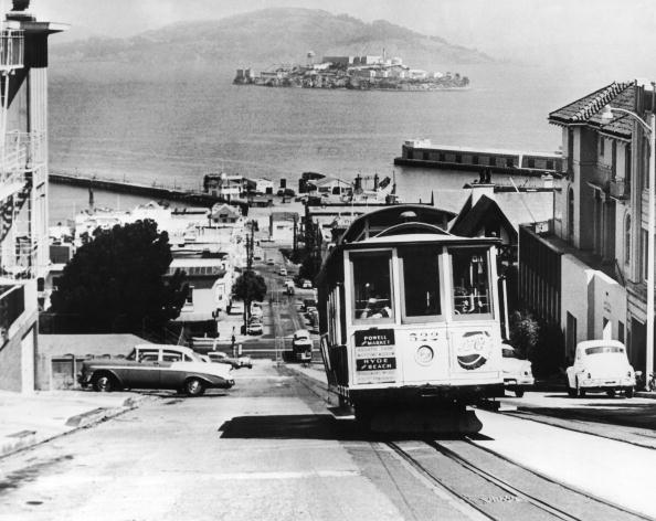 Alcatraz Prison Pictured From The San Francisco Bay Around 1962