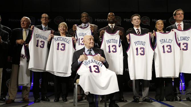 Former UNLV coach Jerry Tarkanian, front, sits in front of fellow inductees during the Naismith Memorial Basketball Hall of Fame class announcement, Monday, April 8, 2013, in Atlanta, Georgia. (AP Photo/Charlie Neibergall)