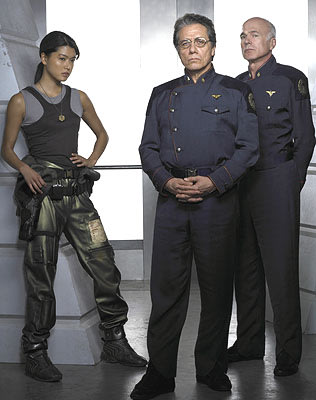 "Grace Park as Boomer, Edward James Olmos as Commander William Adama and Michael Hogan as Colonel Saul Tigh Sci-Fi's ""Battlestar Galactica"" Battlestar Galactica"