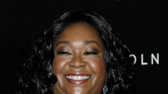 """FILE - In this Thursday, Feb. 23, 2012 file photo, Shonda Rhimes arrives at the 5th annual Essence Black Women in Hollywood Luncheon in Beverly Hills, Calif. """"Grey's Anatomy"""" creator, Shonda Rhimes, is being honored with the Golden Gate Award on June 2, 2012, during the 23rd annual GLAAD Media Awards in San Francisco. (AP Photo/Matt Sayles, File)"""