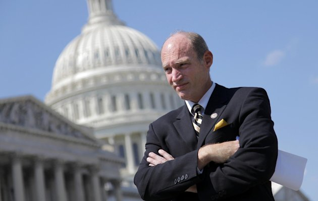 FILE - In this Sept. 12, 201 file photo, Rep. Thaddeus McCotter, R-Mich. takes part in a news conference on Capitol Hill in Washington. Failure of five-term GOP congressman to get on Aug. 7 primary ballot has Republicans scrambling to hold onto the seat. (AP Photo/J. Scott Applewhite, File)