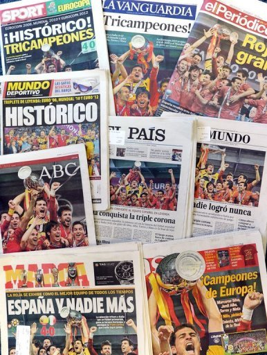 Front pages of Spanish newspapers&nbsp;&hellip;