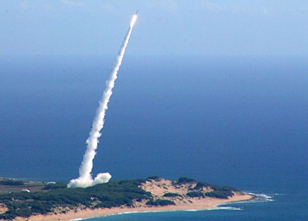 A medium range ballistic missile is launched on June 22, 2007 in Kauai, Hawaii