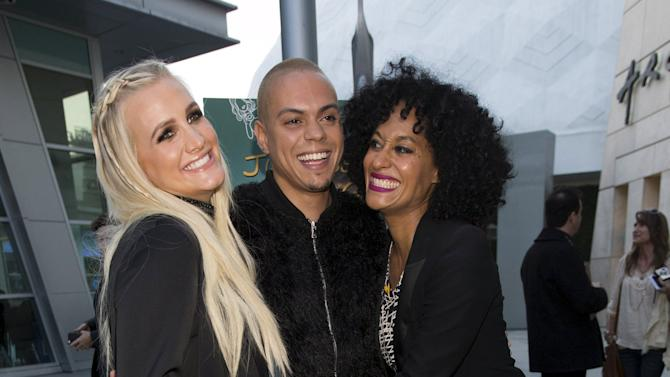 """Cast member Ross and his wife Simpson pose with actress Ross at the premiere of """"Just Before I Go"""" in Los Angeles"""