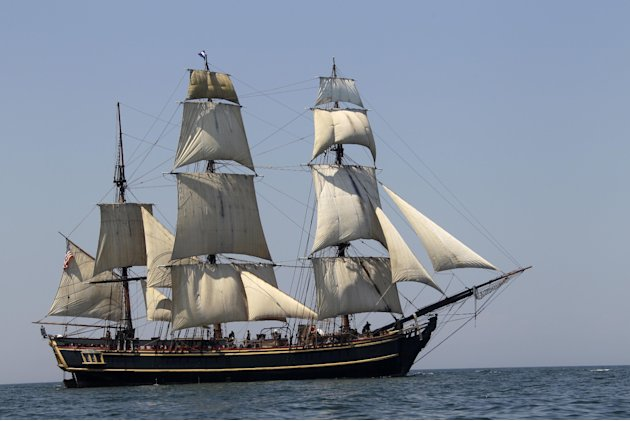 In this July 7, 2010 file photo, the tall ship HMS Bounty sails on Lake Erie off Cleveland. The U.S. Coast Guard has rescued 14 members of the crew forced to abandon the HMS Bounty caught in Hurricane