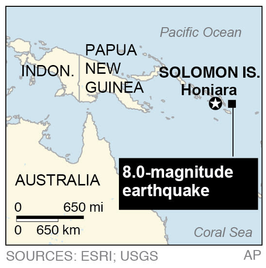 Map locates an 8.0-magnitude earthquake that generated a 0.9 meter (3 feet) tsunami in the Solomon Islands;