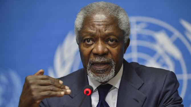 FILE - In this Saturday, June 30, 2012 file photo, Kofi Annan, Joint Special Envoy of the United Nations and the Arab League for Syria speaks during a news conference at the United Nations headquarters in Geneva, Switzerland. On Thursday, Aug. 2, 2012, Annan said he is quitting as special envoy to Syria, effective Aug. 31. (AP Photo/Martial Trezzini, Keystone, File)